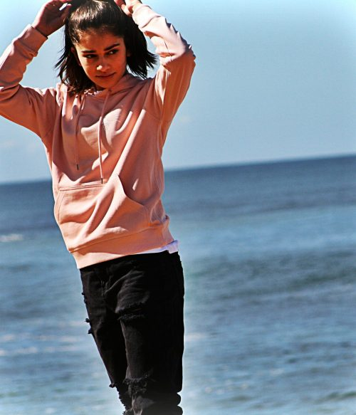 Pale Pink Scotch Hoodie Catch Waves Front 3
