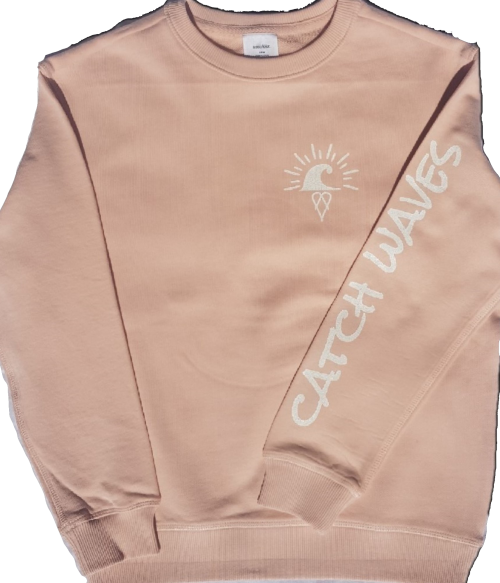 Pale Pink The Crew Hoodie Catch Waves Front