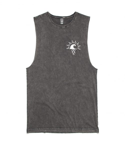 Regular fit Sleeveless Stone wash Ding Muscle Tee / Tank - Black Stone