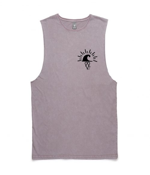 Regular fit Sleeveless Stone wash Ding Muscle Tee / Tank - Orchid Stone