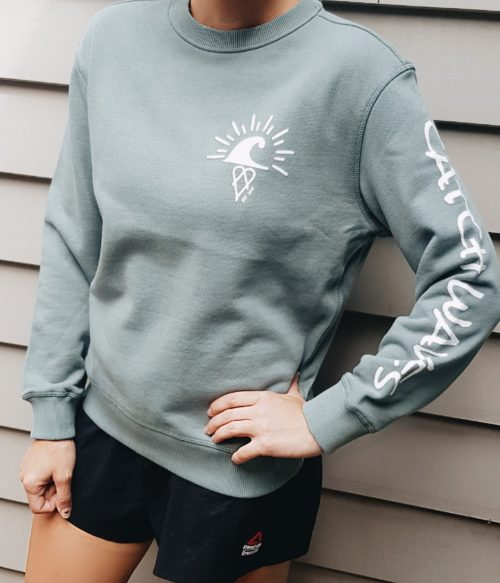 Sage The Crew Hoodie Catch Waves Front